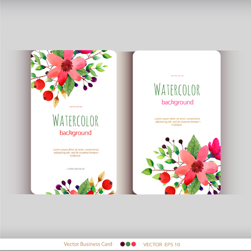 Beautiful Watercolor Flower Business Cards Vector Set 04