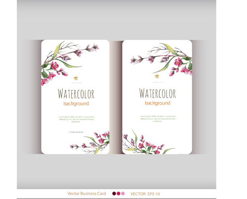 Beautiful Watercolor Flower Business Cards Vector Set 11 Free Download