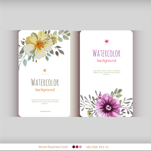 Beautiful Watercolor Flower Business Cards Vector Set 15 Free Download