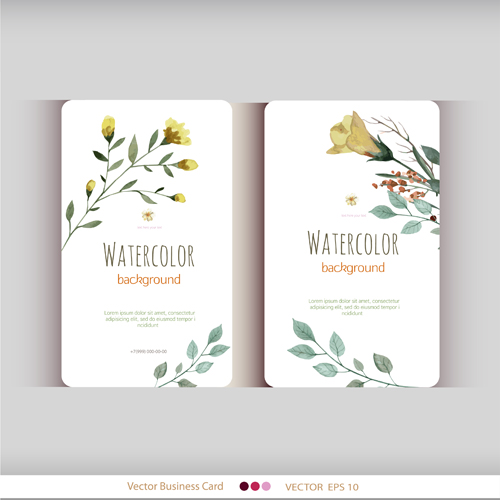 Beautiful Watercolor Flower Business Cards Vector Set 16 Free Download