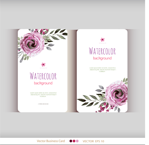 Beautiful watercolor flower business cards vector set 17 for Flower business cards
