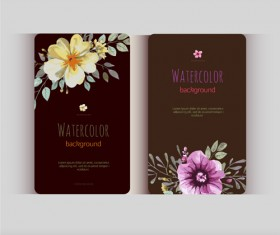 Beautiful watercolor flower business cards vector set 20
