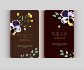 Beautiful watercolor flower business cards vector set 21