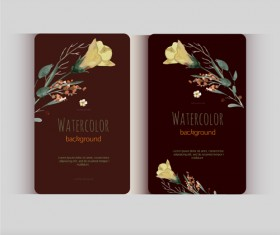 Beautiful watercolor flower business cards vector set 22