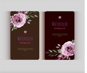 Beautiful watercolor flower business cards vector set 23