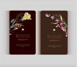 Beautiful watercolor flower business cards vector set 25