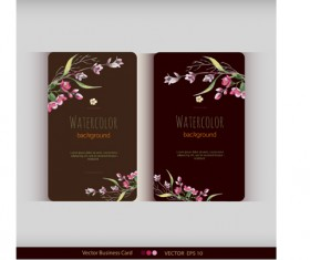 Beautiful watercolor flower business cards vector set 26