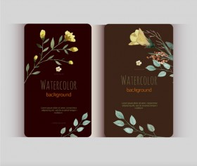 Beautiful watercolor flower business cards vector set 27