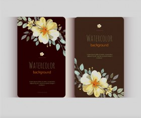 Beautiful watercolor flower business cards vector set 28