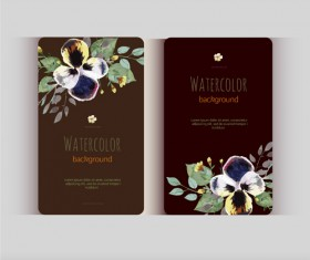 Beautiful watercolor flower business cards vector set 29