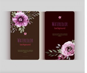 Beautiful watercolor flower business cards vector set 30