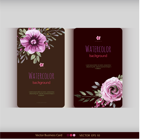 Beautiful Watercolor Flower Business Cards Vector Set 30 Free Download