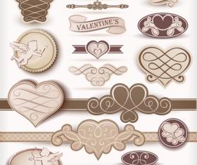Beige valentine day labels vectors set