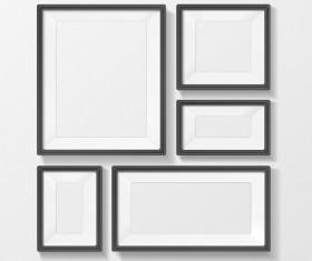 Black border photo frame vector set 01