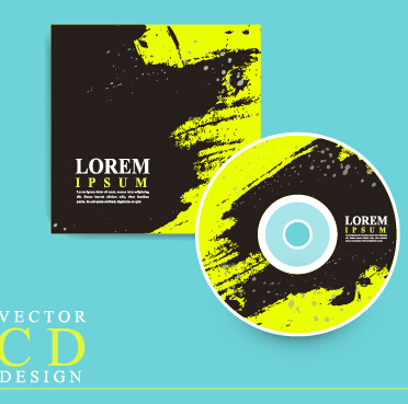 Black with green CD cover grunge vector