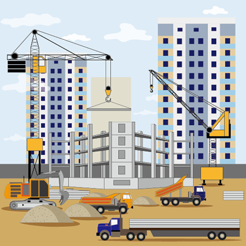 Building Construction Site Flat Background Vector 01 Free Download