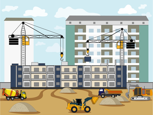 Building Construction Site Flat Background Vector 02