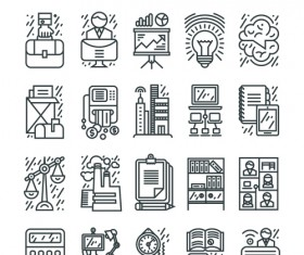 Business icons black outline vector