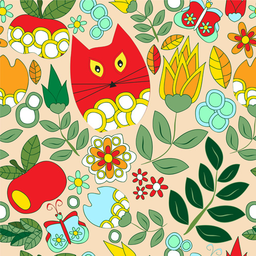 Cartoon cute cat seamless pattern vectors 01