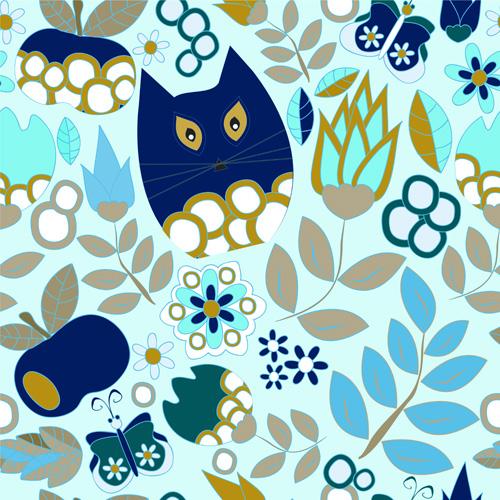 Cartoon cute cat seamless pattern vectors 02