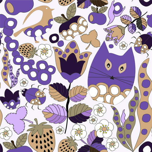Cartoon cute cat seamless pattern vectors 03
