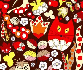 Cartoon cute cat seamless pattern vectors 04