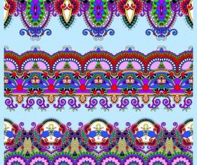 Cartoon ornament floral vector seamless borders 01