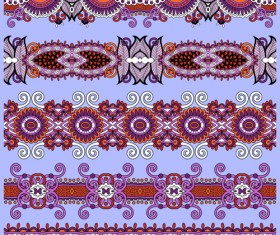Cartoon ornament floral vector seamless borders 02