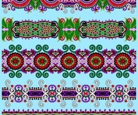 Cartoon ornament floral vector seamless borders 03