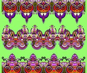 Cartoon ornament floral vector seamless borders 04