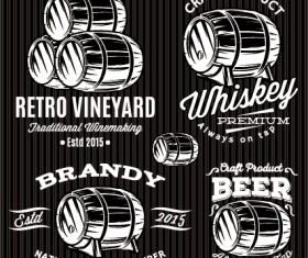 Cask beer label vector material