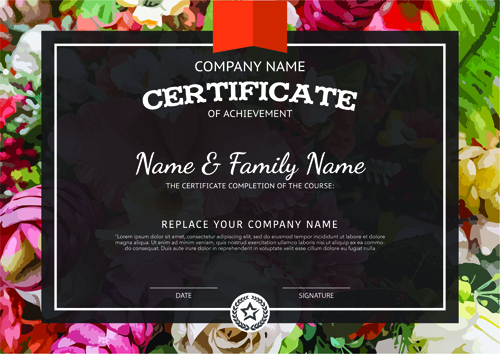 Certificate template vector for free download certificate template with flower background vector material 02 yadclub Choice Image