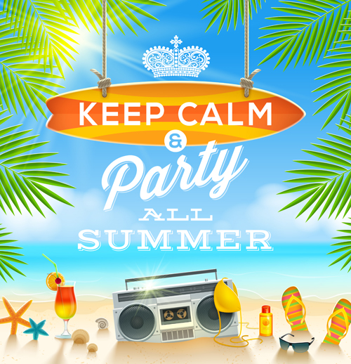 Charming summer party poster template vectors 01 - Vector ...