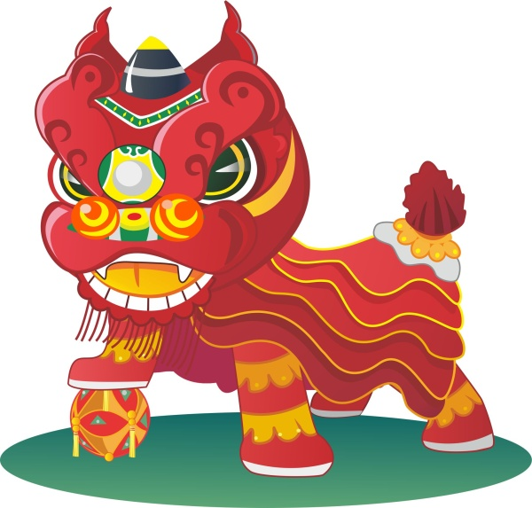 china styles lion cartoon vector free download