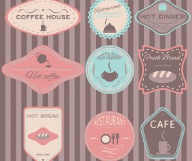 Coffee with cafe colored vintage labels 02