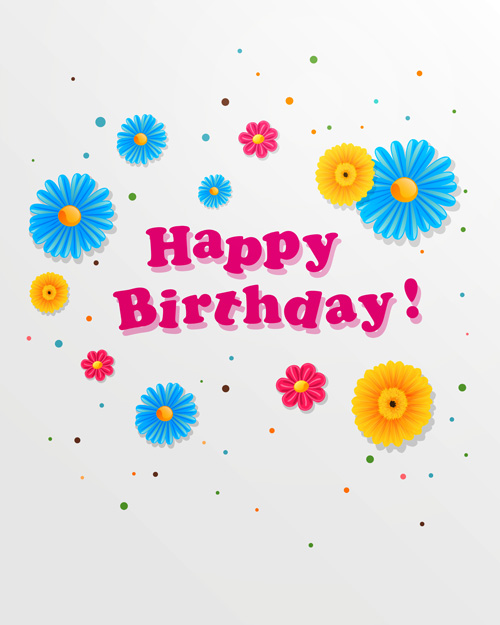 Happy birthday vector for free download cute flower with happy birthday greeting cards vector 01 bookmarktalkfo Gallery