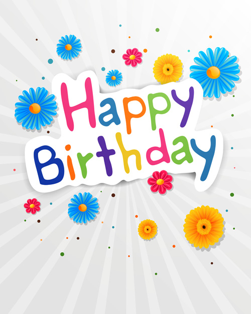 Cute flower with Happy birthday greeting cards vector 02