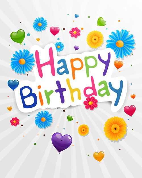 Cute flower with Happy birthday greeting cards vector 03 Vector – Vector Birthday Cards