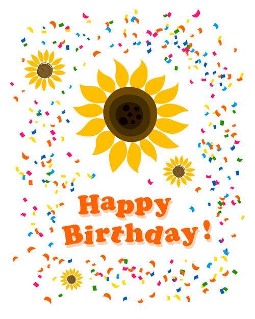Cute flower with Happy birthday greeting cards vector 04 Vector – Cute Birthday Greeting Cards