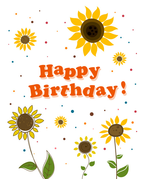 Cute Flower With Happy Birthday Greeting Cards Vector 05 Free Download