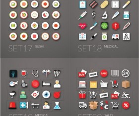 Cute life icons set