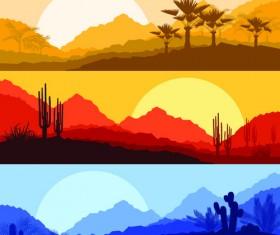 Desolate desert banners vector 01