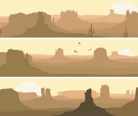 Desolate desert banners vector 02