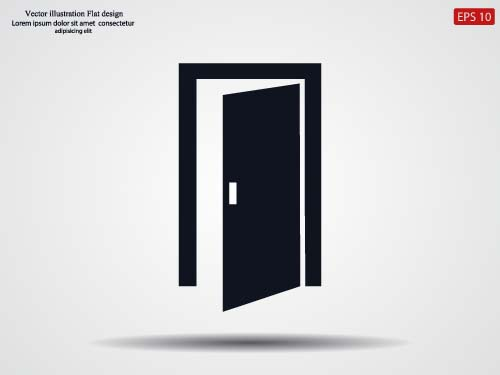 Door black icon vector & Door black icon vector - Life Icons free download