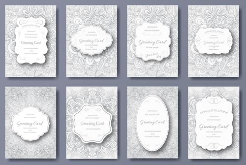 Exquisite greeting card design elements vector 04