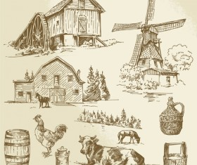 Farm and poultry hand drawn vector 03