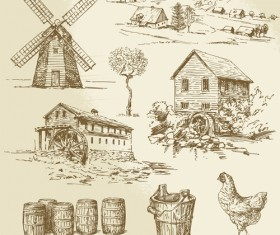 Farm and poultry hand drawn vector 05