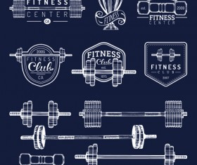 Fitness training label with logotype vector set 01
