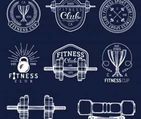 Fitness training label with logotype vector set 02