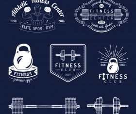 Fitness training label with logotype vector set 03